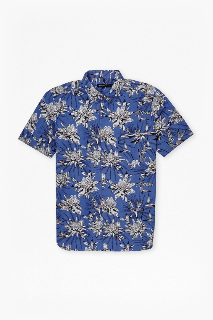 Koko Cotton Floral Short Sleeves Shirt Zaffre Blue - neckline: shirt collar/peter pan/zip with opening; style: shirt; predominant colour: royal blue; secondary colour: light grey; occasions: casual; length: standard; fibres: cotton - 100%; fit: body skimming; sleeve length: short sleeve; sleeve style: standard; texture group: cotton feel fabrics; pattern type: fabric; pattern: florals; pattern size: big & busy (top); multicoloured: multicoloured; season: s/s 2016; wardrobe: highlight