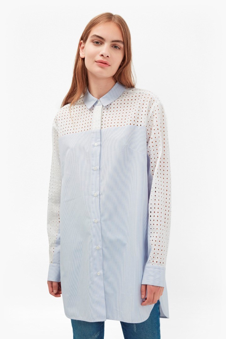Kyra Cotton Shirt Dress Blue/Summer White - neckline: shirt collar/peter pan/zip with opening; length: below the bottom; style: shirt; pattern: pinstripe; secondary colour: ivory/cream; predominant colour: pale blue; occasions: casual, creative work; fibres: cotton - 100%; fit: loose; sleeve length: long sleeve; sleeve style: standard; texture group: cotton feel fabrics; pattern type: fabric; pattern size: standard; season: s/s 2016; wardrobe: highlight; embellishment: contrast fabric; embellishment location: shoulder