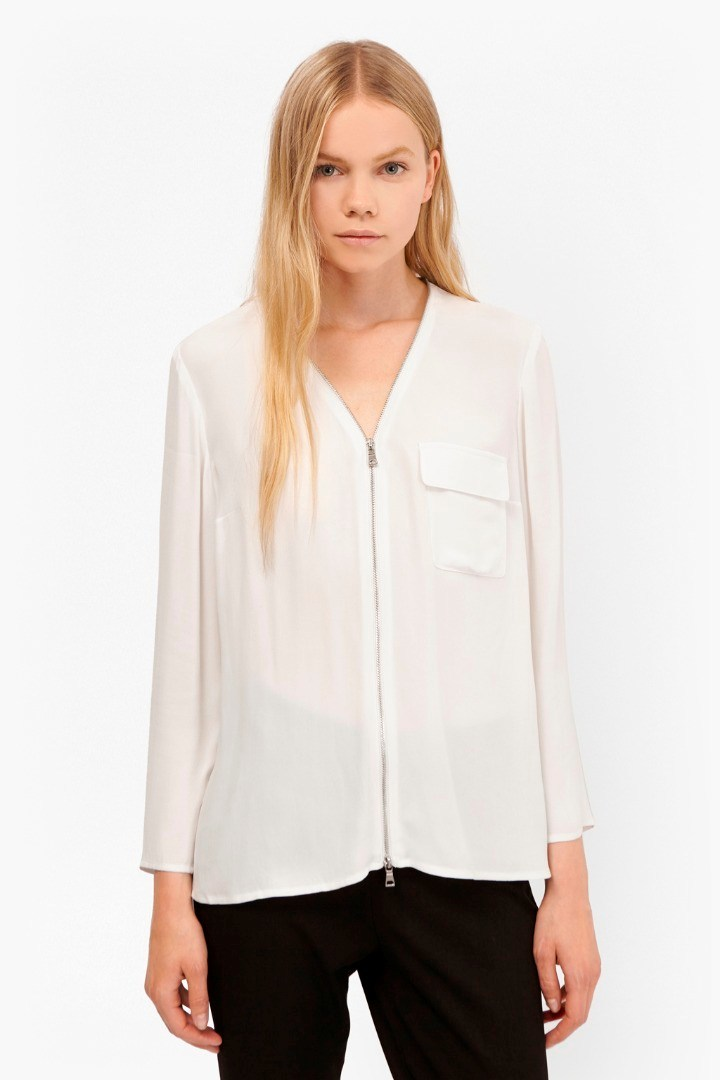 Belle Crepe Zip Up Blouse Winter White - neckline: v-neck; pattern: plain; style: blouse; predominant colour: white; occasions: casual; length: standard; fibres: viscose/rayon - 100%; fit: body skimming; sleeve length: long sleeve; sleeve style: standard; pattern type: fabric; texture group: other - light to midweight; embellishment: zips; season: s/s 2016; wardrobe: highlight; embellishment location: bust