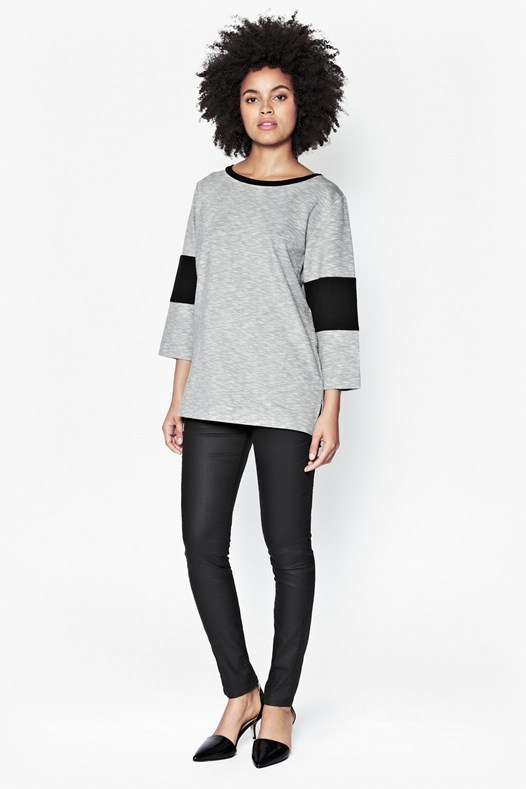 Tudy Panelled Top Grey/Black - neckline: round neck; sleeve style: dolman/batwing; length: below the bottom; style: t-shirt; predominant colour: mid grey; secondary colour: black; occasions: casual; fibres: cotton - stretch; fit: loose; sleeve length: 3/4 length; pattern type: fabric; pattern size: standard; pattern: colourblock; texture group: jersey - stretchy/drapey; season: s/s 2016; wardrobe: highlight