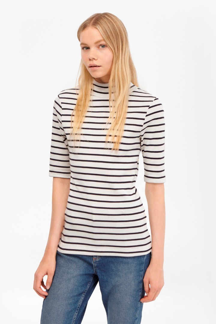Duty Striped Polo Neck Top Classic Cream/Nocturnal - pattern: horizontal stripes; neckline: high neck; style: t-shirt; predominant colour: ivory/cream; secondary colour: navy; occasions: casual; length: standard; fibres: cotton - stretch; fit: body skimming; sleeve length: half sleeve; sleeve style: standard; texture group: jersey - clingy; pattern type: fabric; pattern size: standard; season: s/s 2016; wardrobe: basic