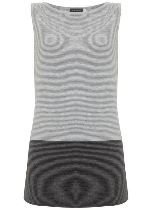 Silver Grey Stripe Hem Tabard - neckline: round neck; sleeve style: sleeveless; style: tunic; secondary colour: charcoal; predominant colour: mid grey; occasions: casual, creative work; fit: body skimming; length: mid thigh; sleeve length: sleeveless; pattern type: fabric; pattern size: standard; pattern: colourblock; texture group: jersey - stretchy/drapey; fibres: viscose/rayon - mix; season: s/s 2016; wardrobe: highlight