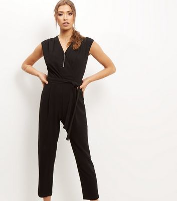Black Wrap Tie Waist Sleeveless Jumpsuit - neckline: v-neck; pattern: plain; sleeve style: sleeveless; waist detail: belted waist/tie at waist/drawstring; predominant colour: black; occasions: evening; length: calf length; fit: body skimming; fibres: polyester/polyamide - stretch; sleeve length: sleeveless; style: jumpsuit; pattern type: fabric; texture group: jersey - stretchy/drapey; season: s/s 2016; wardrobe: event