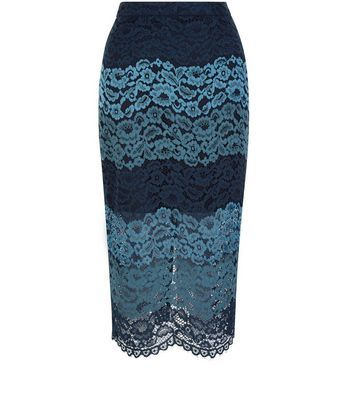 Blue Stripe Lace Split Hem Pencil Skirt - length: below the knee; pattern: plain; style: pencil; fit: tailored/fitted; waist: high rise; predominant colour: navy; secondary colour: denim; occasions: evening, creative work; fibres: polyester/polyamide - 100%; pattern type: fabric; texture group: other - light to midweight; embellishment: lace; season: s/s 2016; wardrobe: highlight