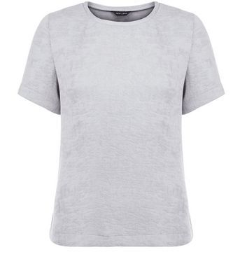 Grey Woven Split Side T Shirt - pattern: plain; style: t-shirt; predominant colour: mid grey; occasions: casual, creative work; length: standard; fibres: cotton - 100%; fit: straight cut; neckline: crew; sleeve length: short sleeve; sleeve style: standard; pattern type: fabric; texture group: woven light midweight; season: s/s 2016