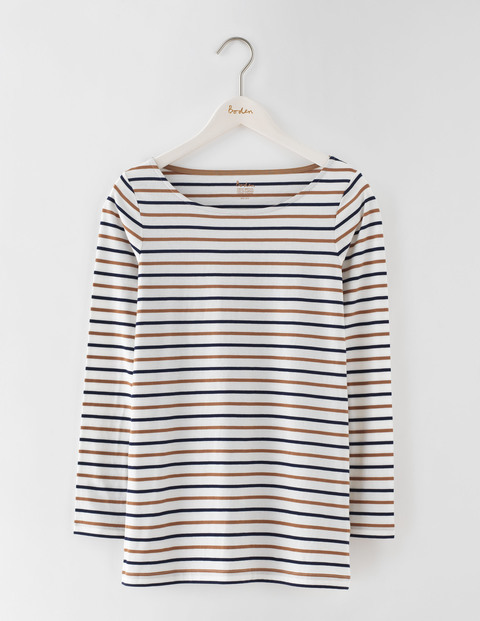 Long Length Long Sleeve Breton Ivory/Navy/Camel Women, Ivory/Navy/Camel - neckline: round neck; pattern: horizontal stripes; secondary colour: ivory/cream; predominant colour: navy; occasions: casual, creative work; length: standard; style: top; fibres: cotton - 100%; fit: straight cut; sleeve length: 3/4 length; sleeve style: standard; pattern type: fabric; texture group: jersey - stretchy/drapey; pattern size: big & busy (top); multicoloured: multicoloured; season: s/s 2016; wardrobe: basic