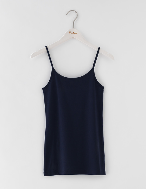 Longer Line Plain Cami Navy Women, Navy - sleeve style: spaghetti straps; pattern: plain; style: camisole; predominant colour: navy; occasions: casual; length: standard; neckline: scoop; fibres: cotton - stretch; fit: body skimming; sleeve length: sleeveless; texture group: jersey - clingy; pattern type: fabric; season: s/s 2016; wardrobe: basic