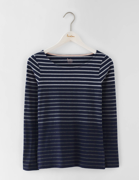 Long Sleeve Short Line Breton Navy/Grey Marl Ombre Women, Navy/Grey Marl Ombre - neckline: round neck; pattern: horizontal stripes; style: t-shirt; secondary colour: white; predominant colour: navy; occasions: casual; length: standard; fibres: cotton - stretch; fit: straight cut; sleeve length: long sleeve; sleeve style: standard; pattern type: fabric; pattern size: standard; texture group: jersey - stretchy/drapey; season: s/s 2016; wardrobe: basic