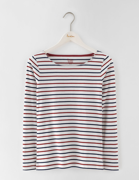 Long Sleeve Breton Ivory/Navy/Red Liquorice Women, Ivory/Navy/Red Liquorice - neckline: round neck; pattern: horizontal stripes; predominant colour: ivory/cream; secondary colour: navy; occasions: casual, creative work; length: standard; style: top; fibres: cotton - 100%; fit: straight cut; sleeve length: long sleeve; sleeve style: standard; pattern type: fabric; texture group: jersey - stretchy/drapey; pattern size: big & busy (top); multicoloured: multicoloured; season: s/s 2016