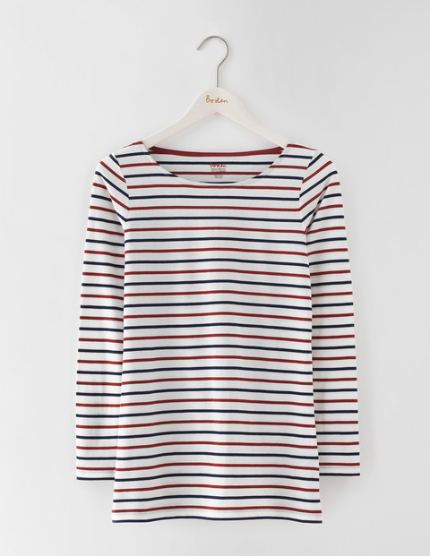 Long Length Long Sleeve Breton Ivory/Navy/Red Liquorice Women, Ivory/Navy/Red Liquorice - pattern: horizontal stripes; predominant colour: ivory/cream; secondary colour: royal blue; occasions: casual; length: standard; style: top; fibres: cotton - 100%; fit: body skimming; neckline: crew; sleeve length: long sleeve; sleeve style: standard; pattern type: fabric; texture group: jersey - stretchy/drapey; multicoloured: multicoloured; season: s/s 2016