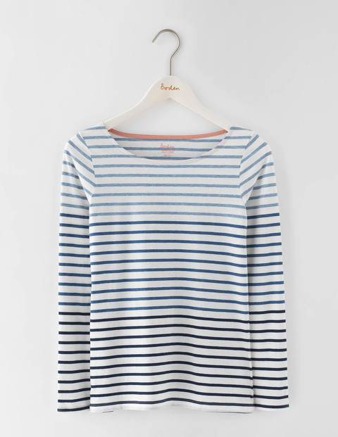 Long Sleeve Breton Ivory/Denim Marl Ombre Women, Ivory/Denim Marl Ombre - neckline: round neck; pattern: horizontal stripes; style: t-shirt; predominant colour: white; secondary colour: pale blue; occasions: casual; length: standard; fibres: cotton - 100%; fit: body skimming; sleeve length: long sleeve; sleeve style: standard; pattern type: fabric; texture group: jersey - stretchy/drapey; season: s/s 2016; wardrobe: highlight