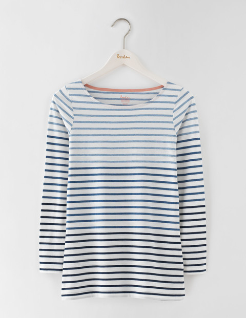 Long Length Long Sleeve Breton Ivory/Denim Marl Ombre Women, Ivory/Denim Marl Ombre - pattern: horizontal stripes; predominant colour: white; secondary colour: pale blue; occasions: casual; length: standard; style: top; fibres: cotton - 100%; fit: body skimming; neckline: crew; sleeve length: long sleeve; sleeve style: standard; pattern type: fabric; texture group: jersey - stretchy/drapey; multicoloured: multicoloured; season: s/s 2016; wardrobe: highlight