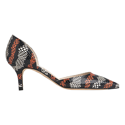Florine Two Part Court Shoes - secondary colour: bright orange; predominant colour: black; material: leather; heel height: mid; heel: kitten; toe: pointed toe; style: courts; finish: plain; pattern: patterned/print; occasions: creative work; multicoloured: multicoloured; season: s/s 2016; wardrobe: highlight