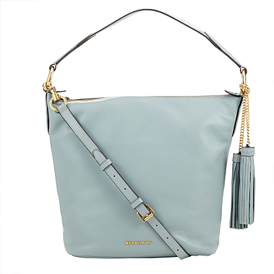 Elana Large Leather Shoulder Bag - predominant colour: pale blue; occasions: casual, creative work; type of pattern: standard; style: shoulder; length: shoulder (tucks under arm); size: standard; material: leather; embellishment: tassels; pattern: plain; finish: plain; season: s/s 2016