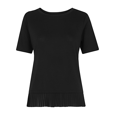 Pleat Trim T Shirt, Black - pattern: plain; style: t-shirt; predominant colour: black; occasions: casual; length: standard; fit: body skimming; neckline: crew; sleeve length: short sleeve; sleeve style: standard; pattern type: fabric; texture group: jersey - stretchy/drapey; fibres: viscose/rayon - mix; season: s/s 2016; wardrobe: basic