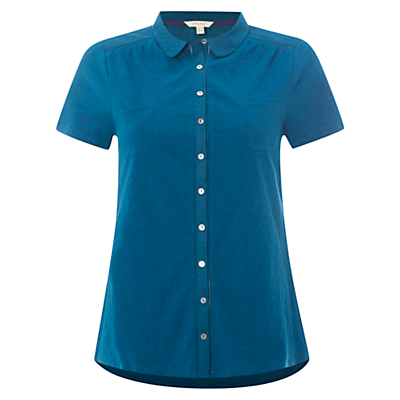 Short Sleeve Pearl Jersey Shirt, Empire Green - neckline: shirt collar/peter pan/zip with opening; pattern: plain; style: shirt; predominant colour: navy; occasions: casual; length: standard; fibres: cotton - 100%; fit: body skimming; sleeve length: short sleeve; sleeve style: standard; pattern type: fabric; texture group: jersey - stretchy/drapey; season: s/s 2016; wardrobe: basic
