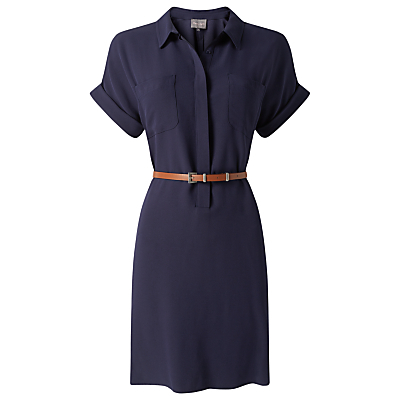 Melissa Belted Tunic Dress - style: shirt; neckline: shirt collar/peter pan/zip with opening; fit: fitted at waist; pattern: plain; waist detail: belted waist/tie at waist/drawstring; predominant colour: navy; occasions: casual, creative work; length: just above the knee; sleeve length: short sleeve; sleeve style: standard; pattern type: fabric; texture group: other - light to midweight; fibres: viscose/rayon - mix; season: s/s 2016; wardrobe: basic