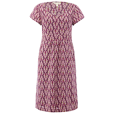 Ivy Cottage Dress, Royal Purple - style: shift; length: below the knee; secondary colour: pink; predominant colour: purple; occasions: casual, holiday; fit: body skimming; neckline: scoop; fibres: cotton - 100%; sleeve length: short sleeve; sleeve style: standard; pattern type: fabric; pattern size: big & busy; pattern: patterned/print; texture group: other - light to midweight; season: s/s 2016; wardrobe: highlight