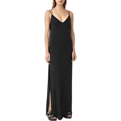 Faye Dress, Black - neckline: low v-neck; sleeve style: spaghetti straps; pattern: plain; style: maxi dress; hip detail: draws attention to hips; predominant colour: black; occasions: evening; length: floor length; fit: body skimming; fibres: viscose/rayon - 100%; sleeve length: sleeveless; pattern type: fabric; texture group: jersey - stretchy/drapey; season: s/s 2016; wardrobe: event