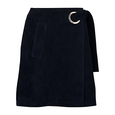 Eyelet Suede Mini Skirt, Navy - length: mini; pattern: plain; fit: body skimming; waist: high rise; waist detail: belted waist/tie at waist/drawstring; predominant colour: navy; occasions: casual, creative work; style: mini skirt; fibres: leather - 100%; pattern type: fabric; texture group: suede; season: s/s 2016; wardrobe: highlight