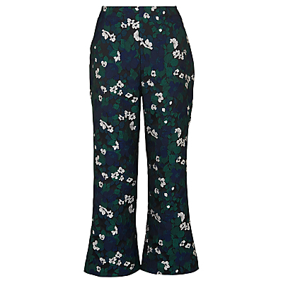 Jacquard Pansy Print Trousers, Navy - waist: high rise; predominant colour: navy; secondary colour: emerald green; length: calf length; fibres: polyester/polyamide - 100%; fit: wide leg; pattern type: fabric; pattern: florals; texture group: brocade/jacquard; style: standard; occasions: creative work; pattern size: standard (bottom); multicoloured: multicoloured; season: s/s 2016; wardrobe: highlight