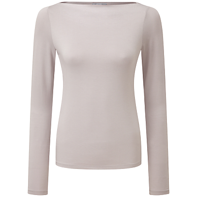 Jaime Slash Neck Top, Pearl Grey - neckline: slash/boat neckline; pattern: plain; predominant colour: light grey; occasions: casual; length: standard; style: top; fibres: viscose/rayon - stretch; fit: body skimming; sleeve length: long sleeve; sleeve style: standard; pattern type: fabric; texture group: jersey - stretchy/drapey; season: s/s 2016; wardrobe: basic