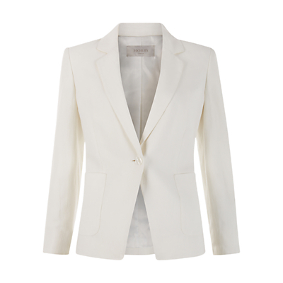 Beverley Jacket, Ivory - pattern: plain; style: single breasted blazer; collar: standard lapel/rever collar; predominant colour: ivory/cream; length: standard; fit: tailored/fitted; fibres: silk - mix; occasions: occasion; waist detail: fitted waist; sleeve length: long sleeve; sleeve style: standard; texture group: crepes; collar break: medium; pattern type: fabric; season: s/s 2016; wardrobe: event