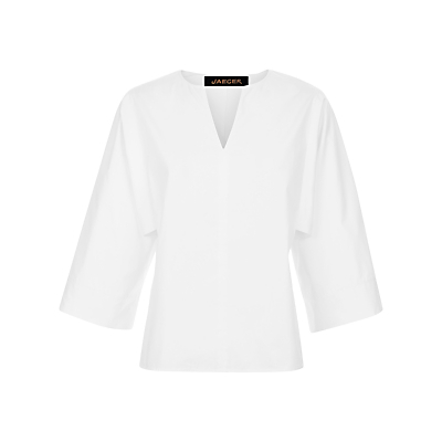Cotton Draped Sleeve Blouse, White - pattern: plain; style: blouse; predominant colour: white; occasions: casual, creative work; length: standard; neckline: collarstand & mandarin with v-neck; fibres: cotton - 100%; fit: tailored/fitted; sleeve length: 3/4 length; sleeve style: standard; texture group: cotton feel fabrics; pattern type: fabric; season: s/s 2016; wardrobe: basic