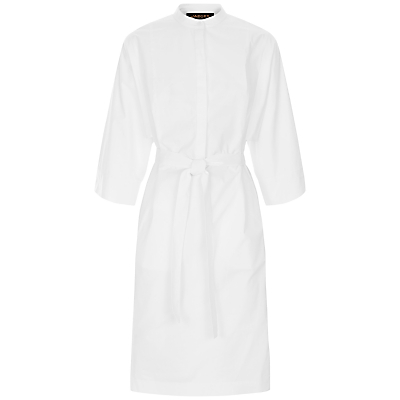 Draped Sleeve Shirt Dress, White - style: shirt; neckline: shirt collar/peter pan/zip with opening; pattern: plain; waist detail: belted waist/tie at waist/drawstring; predominant colour: white; occasions: casual, creative work; length: just above the knee; fit: body skimming; fibres: cotton - 100%; sleeve length: 3/4 length; sleeve style: standard; texture group: cotton feel fabrics; pattern type: fabric; season: s/s 2016; wardrobe: basic