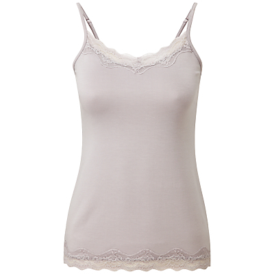 Madison Lace Cami, Pearl Grey - sleeve style: spaghetti straps; pattern: plain; style: camisole; predominant colour: light grey; occasions: casual, holiday; length: standard; neckline: scoop; fibres: cotton - stretch; fit: tight; sleeve length: sleeveless; texture group: jersey - clingy; pattern type: fabric; embellishment: lace; season: s/s 2016; wardrobe: highlight