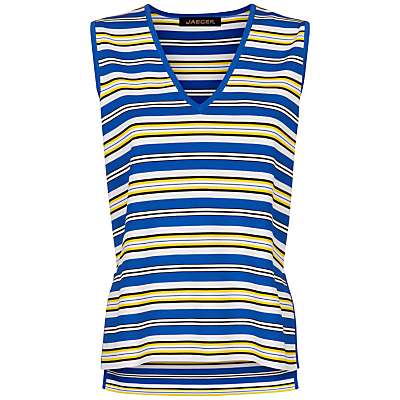 Stripe Split Hem Vest, White/Yellow - neckline: v-neck; pattern: horizontal stripes; sleeve style: sleeveless; style: vest top; secondary colour: royal blue; predominant colour: yellow; occasions: casual; length: standard; fibres: viscose/rayon - stretch; fit: body skimming; sleeve length: sleeveless; pattern type: fabric; texture group: other - light to midweight; pattern size: big & busy (top); multicoloured: multicoloured; season: s/s 2016; wardrobe: highlight
