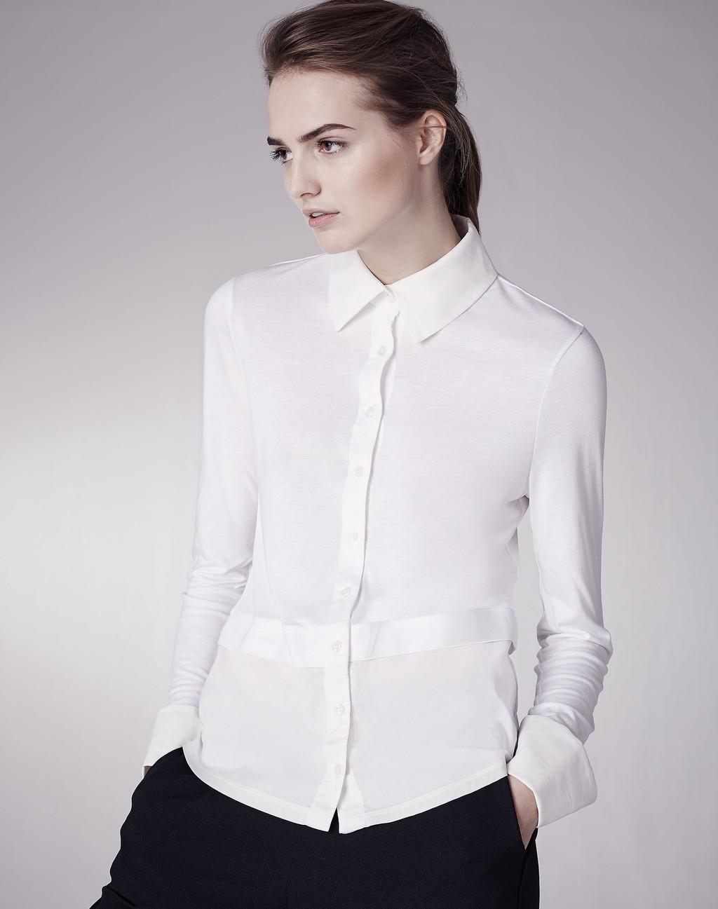 The Cuff + Tail Layer Shirt White - neckline: shirt collar/peter pan/zip with opening; pattern: plain; style: shirt; predominant colour: white; occasions: work; length: standard; fibres: viscose/rayon - 100%; fit: body skimming; sleeve length: long sleeve; sleeve style: standard; texture group: crepes; pattern type: fabric; season: s/s 2016