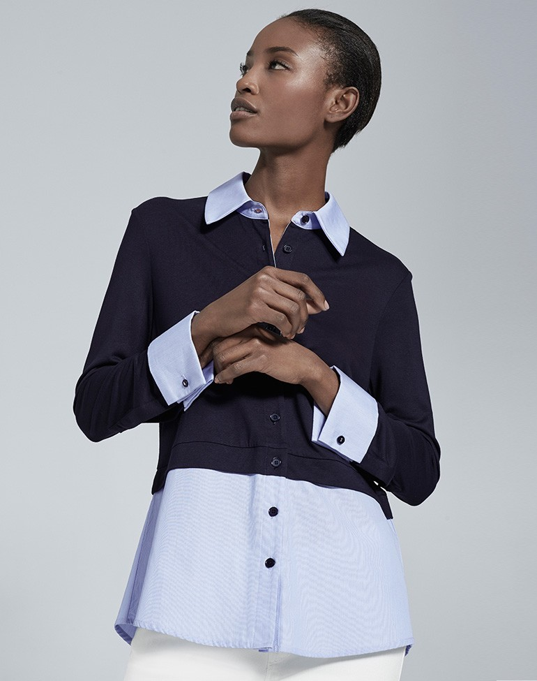 The Cuff + Tail Layer Shirt Navy/Blue Stripe - neckline: shirt collar/peter pan/zip with opening; style: shirt; secondary colour: pale blue; predominant colour: navy; occasions: work; length: standard; fibres: cotton - 100%; fit: tailored/fitted; sleeve length: long sleeve; sleeve style: standard; texture group: cotton feel fabrics; pattern type: fabric; pattern size: standard; pattern: colourblock; multicoloured: multicoloured; season: s/s 2016; wardrobe: highlight