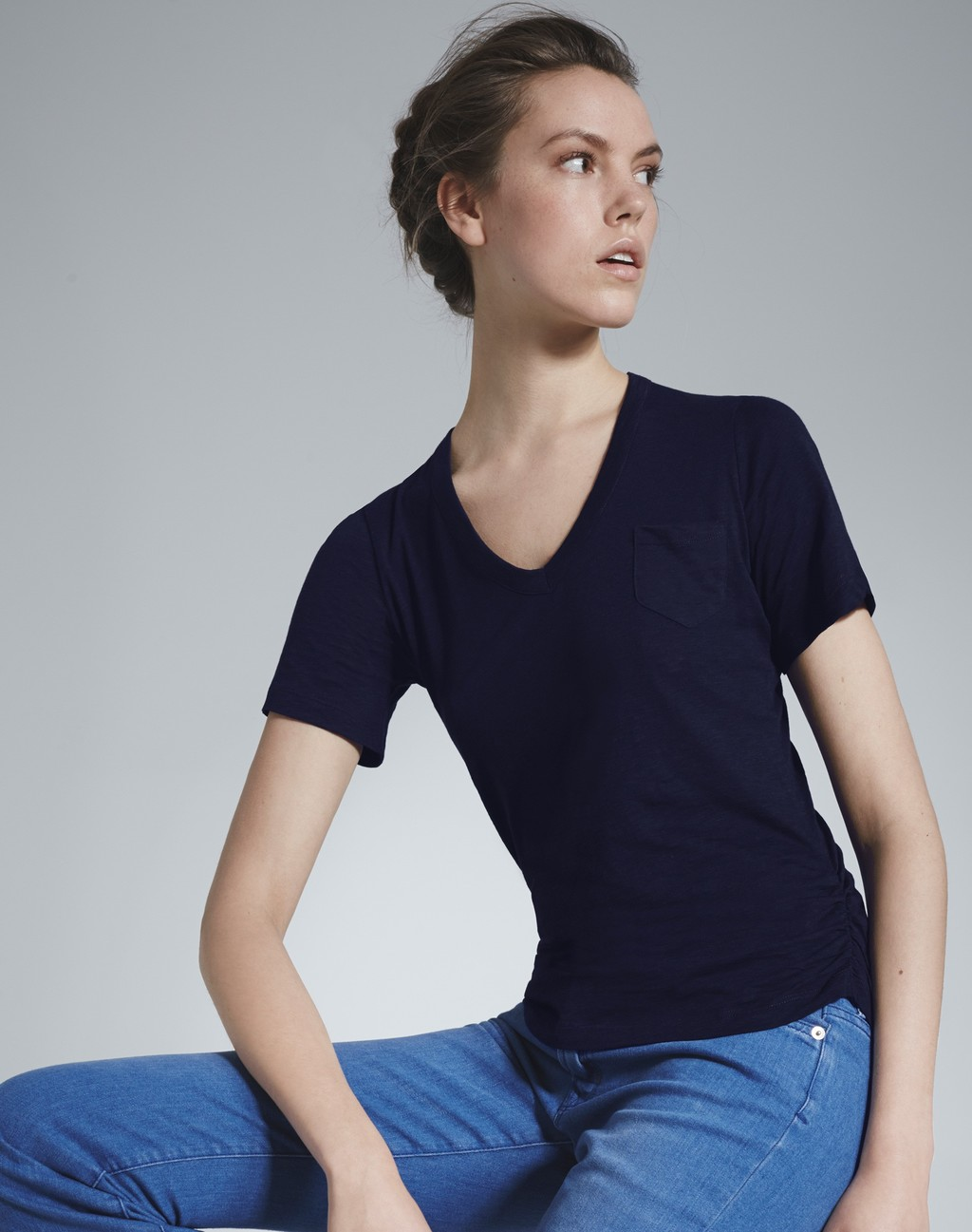 The Perfect V Neck Tee Navy - neckline: v-neck; pattern: plain; style: t-shirt; predominant colour: navy; occasions: casual; length: standard; fibres: cotton - stretch; fit: body skimming; sleeve length: short sleeve; sleeve style: standard; texture group: jersey - clingy; pattern type: fabric; season: s/s 2016; wardrobe: basic