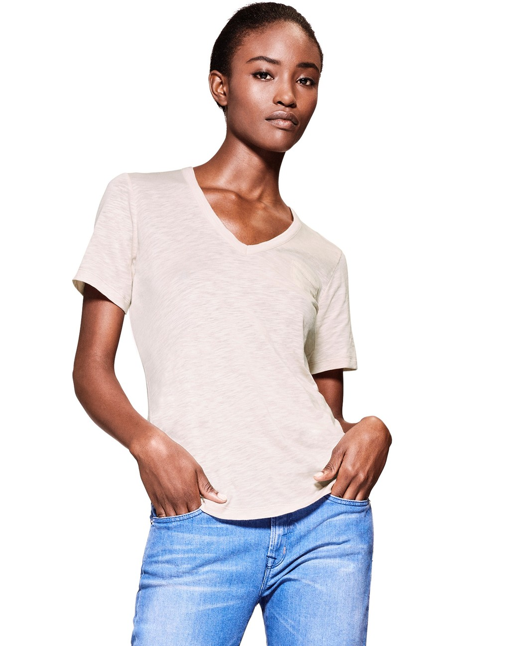 The Perfect V Neck Tee Blush - neckline: v-neck; pattern: plain; style: t-shirt; predominant colour: stone; occasions: casual; length: standard; fit: body skimming; sleeve length: short sleeve; sleeve style: standard; pattern type: fabric; texture group: jersey - stretchy/drapey; fibres: viscose/rayon - mix; season: s/s 2016; wardrobe: basic