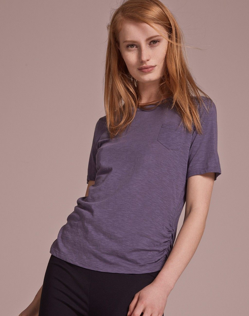 The Perfect Crew Neck Tee Denim Blue - pattern: plain; style: t-shirt; predominant colour: charcoal; occasions: casual; length: standard; fibres: cotton - stretch; fit: body skimming; neckline: crew; sleeve length: short sleeve; sleeve style: standard; texture group: jersey - clingy; pattern type: fabric; season: s/s 2016; wardrobe: basic