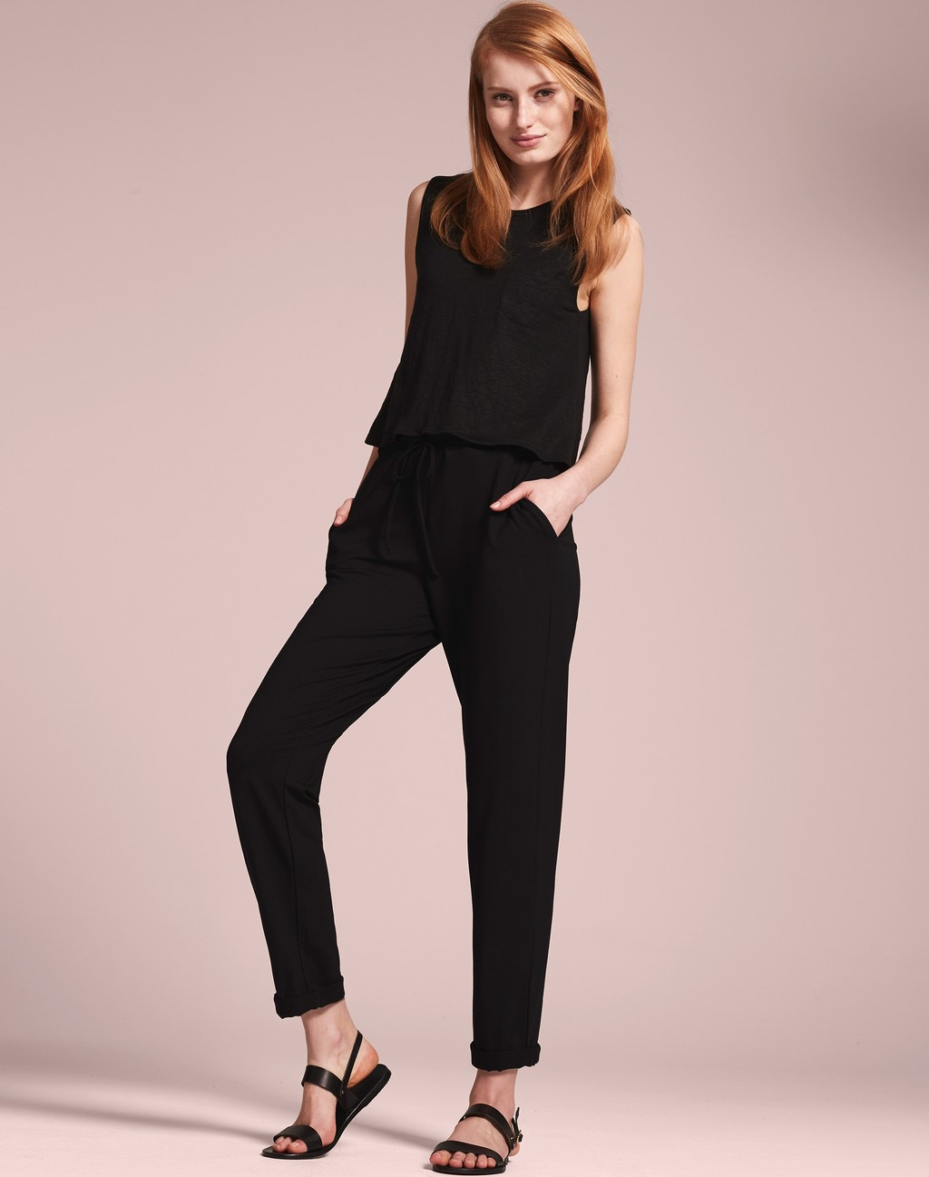 2 In 1 Cigarette Jumpsuit Black - length: standard; pattern: plain; sleeve style: sleeveless; predominant colour: black; occasions: evening; fit: body skimming; fibres: linen - 100%; neckline: crew; sleeve length: sleeveless; style: jumpsuit; pattern type: fabric; texture group: other - light to midweight; season: s/s 2016; wardrobe: event