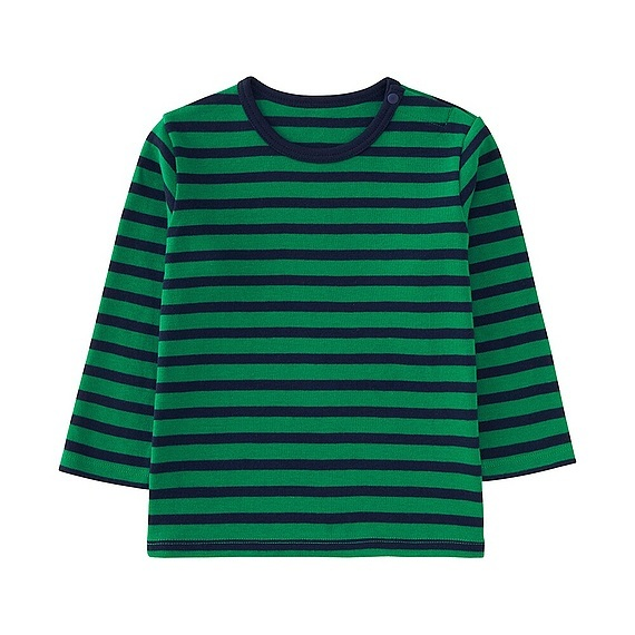 Babies Toddler Crew Neck Long Sleeve T Shirt Green - pattern: horizontal stripes; secondary colour: navy; predominant colour: emerald green; occasions: casual; length: standard; style: top; fibres: cotton - 100%; fit: body skimming; neckline: crew; sleeve length: 3/4 length; sleeve style: standard; pattern type: fabric; texture group: jersey - stretchy/drapey; multicoloured: multicoloured; season: s/s 2016; wardrobe: highlight