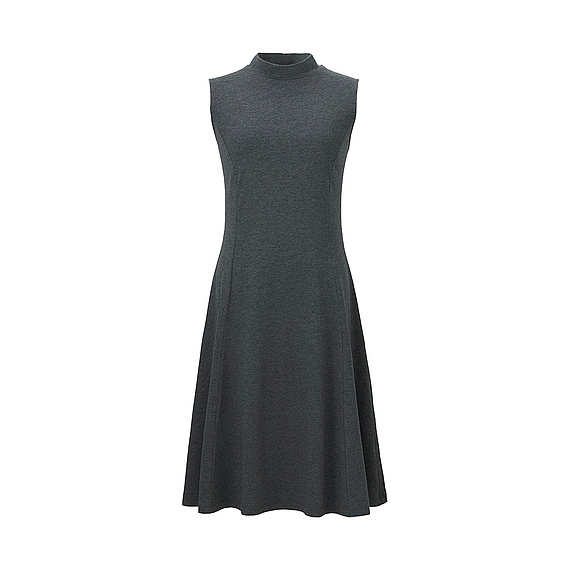 Women Fit And Flare Sleeveless Dress Dark Gray - pattern: plain; sleeve style: sleeveless; neckline: high neck; predominant colour: charcoal; occasions: evening; length: on the knee; fit: fitted at waist & bust; style: fit & flare; fibres: viscose/rayon - stretch; sleeve length: sleeveless; pattern type: fabric; texture group: jersey - stretchy/drapey; season: s/s 2016; wardrobe: event