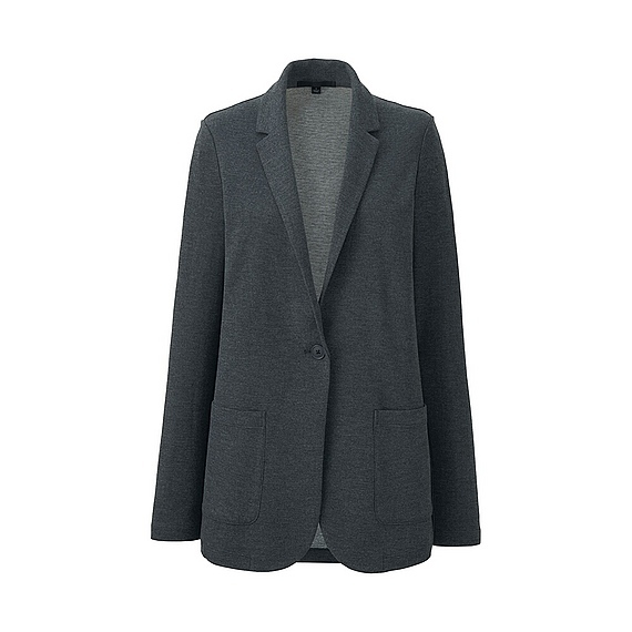 Women Soft Jersey Long Jacket Dark Gray - pattern: plain; style: single breasted blazer; length: below the bottom; collar: standard lapel/rever collar; predominant colour: charcoal; occasions: work; fit: tailored/fitted; fibres: acrylic - mix; sleeve length: long sleeve; sleeve style: standard; collar break: medium; pattern type: fabric; texture group: jersey - stretchy/drapey; season: s/s 2016; wardrobe: investment