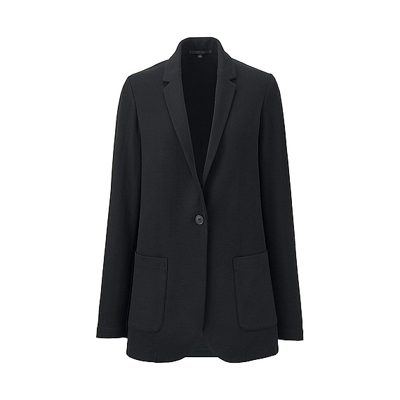Women Soft Jersey Long Jacket Black - pattern: plain; style: single breasted blazer; length: below the bottom; fit: slim fit; collar: standard lapel/rever collar; predominant colour: black; occasions: casual, work; fibres: acrylic - mix; sleeve length: long sleeve; sleeve style: standard; collar break: medium; pattern type: fabric; texture group: jersey - stretchy/drapey; season: s/s 2016; wardrobe: basic