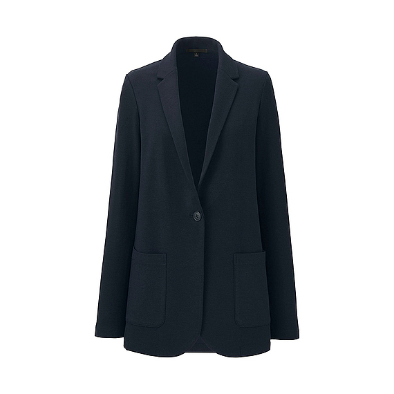 Women Soft Jersey Long Jacket Navy - pattern: plain; style: single breasted blazer; length: below the bottom; collar: standard lapel/rever collar; predominant colour: navy; occasions: work; fit: tailored/fitted; fibres: acrylic - mix; sleeve length: long sleeve; sleeve style: standard; collar break: medium; pattern type: fabric; texture group: jersey - stretchy/drapey; season: s/s 2016; wardrobe: investment