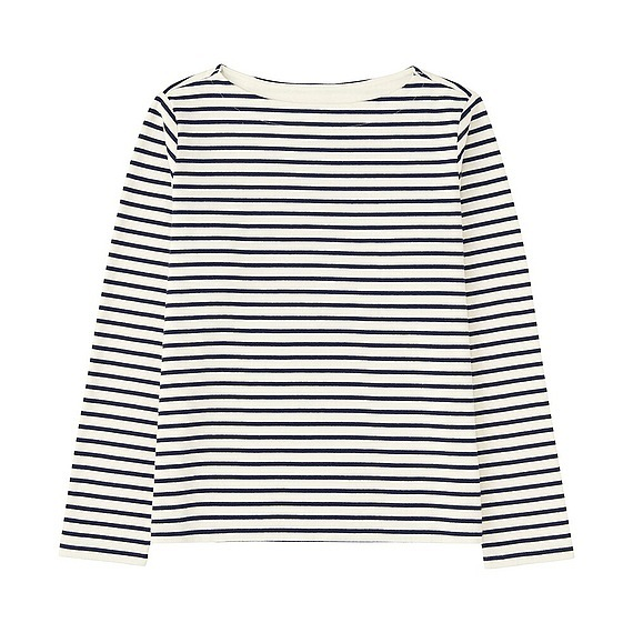 Women Striped Boat Neck Long Sleeve T Shirt (Size M) Off White - neckline: slash/boat neckline; pattern: horizontal stripes; style: t-shirt; predominant colour: white; secondary colour: black; occasions: casual; length: standard; fibres: cotton - 100%; fit: loose; sleeve length: long sleeve; sleeve style: standard; pattern type: fabric; texture group: jersey - stretchy/drapey; multicoloured: multicoloured; season: s/s 2016; wardrobe: basic