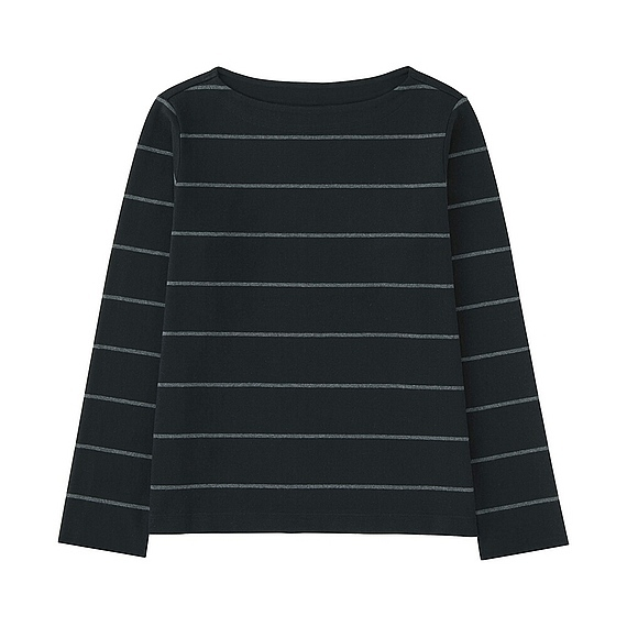 Women Striped Boat Neck Long Sleeve T Black - neckline: slash/boat neckline; pattern: horizontal stripes; secondary colour: white; predominant colour: black; occasions: casual; length: standard; style: top; fibres: cotton - 100%; fit: body skimming; sleeve length: long sleeve; sleeve style: standard; trends: monochrome; pattern type: fabric; texture group: jersey - stretchy/drapey; season: s/s 2016; wardrobe: basic