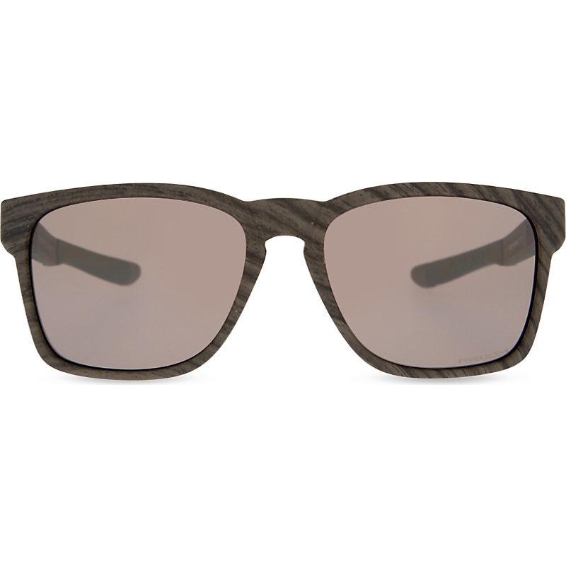 Oo9272 20 Catalyst Prizm™ Square Frame Sunglasses, Women's, Woodgrain - predominant colour: black; occasions: casual, holiday; style: square; size: standard; material: plastic/rubber; pattern: plain; finish: plain; season: s/s 2016