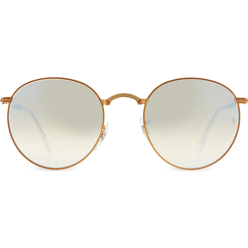 Rb3532 Folding Round Frame Unglasses, Women's, Shiny Bronze - predominant colour: gold; style: round; size: standard; material: chain/metal; pattern: plain; occasions: holiday; finish: metallic; season: s/s 2016; wardrobe: basic