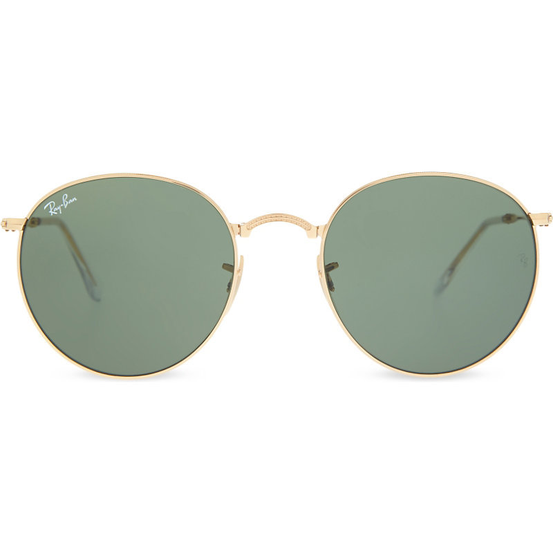 Rb3532 Folding Round Frame Sunglasses, Women's, Gold - predominant colour: gold; style: round; size: standard; material: chain/metal; pattern: plain; occasions: holiday; finish: metallic; season: s/s 2016; wardrobe: basic