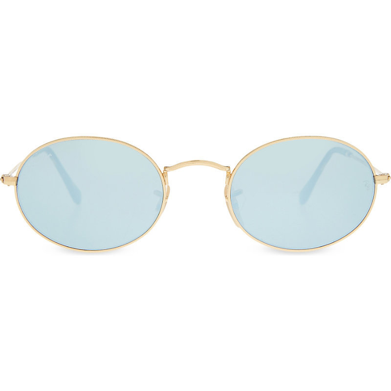 Rb3547 N Oval Frame Sunglasses, Women's, Gold - predominant colour: pale blue; secondary colour: gold; occasions: casual, holiday; style: round; size: standard; material: plastic/rubber; pattern: plain; finish: metallic; season: s/s 2016; wardrobe: highlight