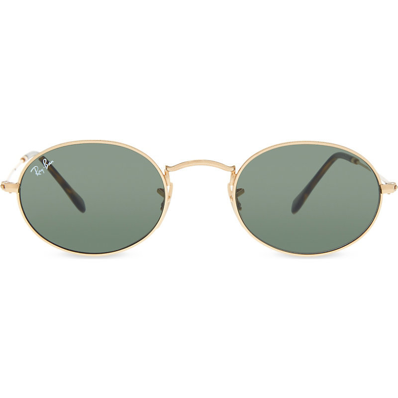 Rb3547 N Oval Frame Sunglasses, Women's, Gold - predominant colour: gold; occasions: casual, holiday; style: round; size: standard; material: chain/metal; pattern: plain; finish: metallic; season: s/s 2016; wardrobe: basic