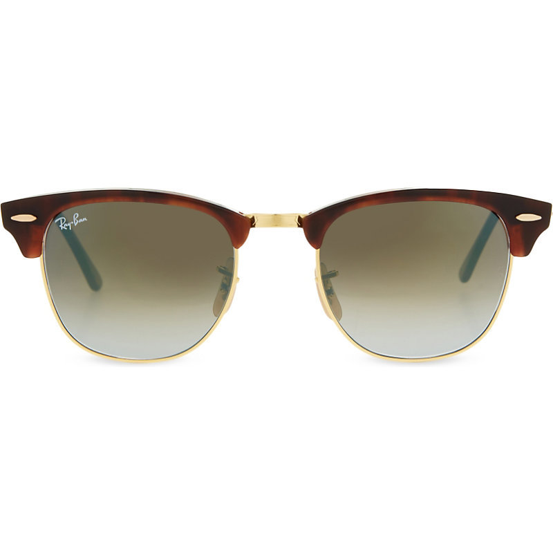 Rb3016 Clubmaster Havana Sunglasses, Women's, Shiny Red/Havana - predominant colour: chocolate brown; occasions: casual, holiday; style: round; size: standard; material: chain/metal; pattern: tortoiseshell; finish: metallic; season: s/s 2016; wardrobe: basic